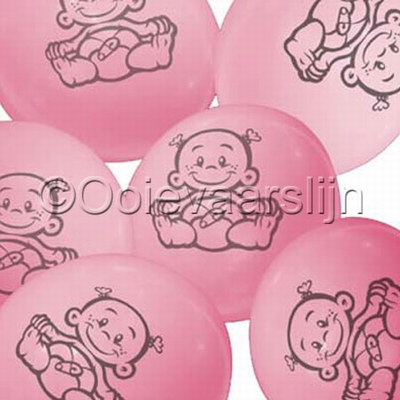Ballon Party time roze  per 6 stuks