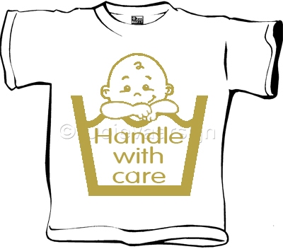 Baby T-shirt Handle with care wit  maat 62