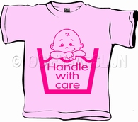 Baby T-shirt Handle with care roze