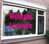 Raamdecoratie roze start v.a.